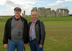 Brad Chilcoat (left) and his partner, Richard Walker, at Stonehenge.